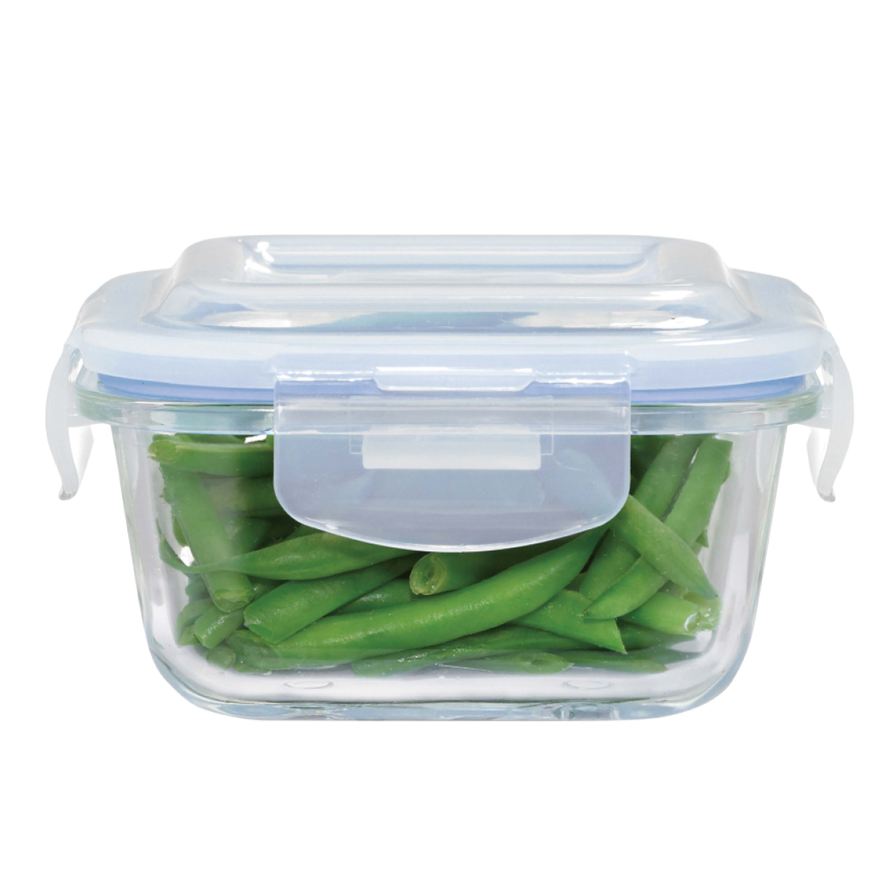 Square Glass Food Container With Pp Lid 320ml Masflex