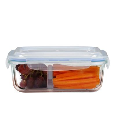 Rectangular Glass Food Container with Division