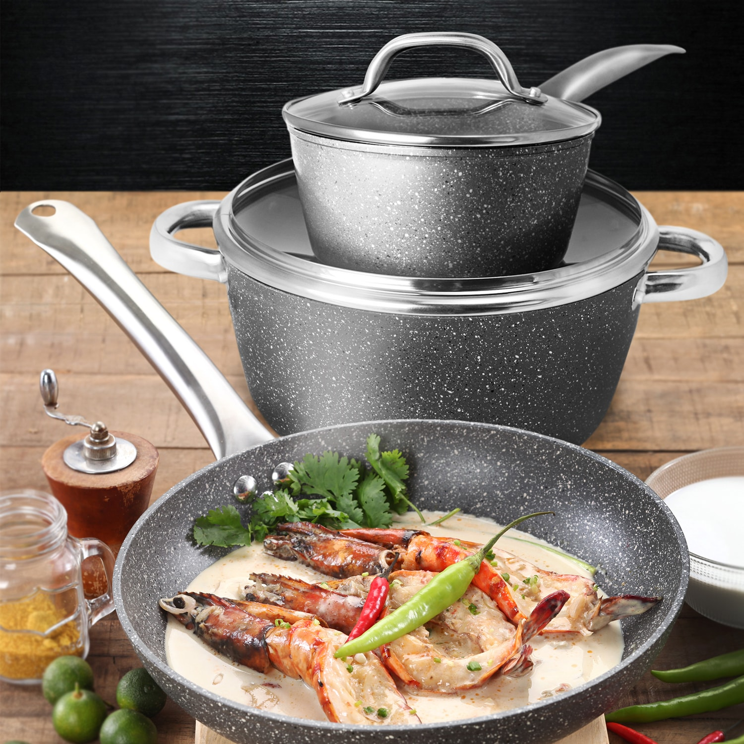 Masflex Forged Stone Aluminum Non-stick Induction Cookware