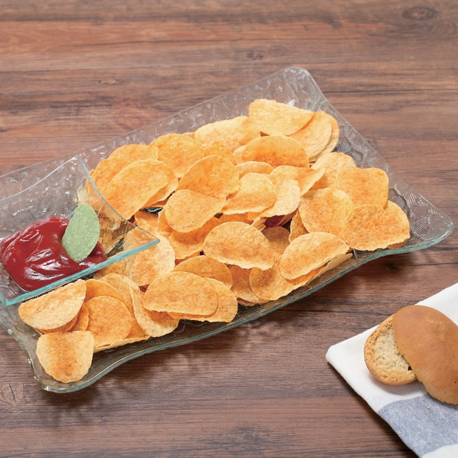 Masflex Rectangular Snack Tray with Condiment Holder
