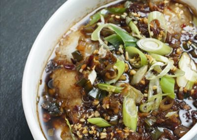 STEAMED FISH with CHILI GINGER SAUCE