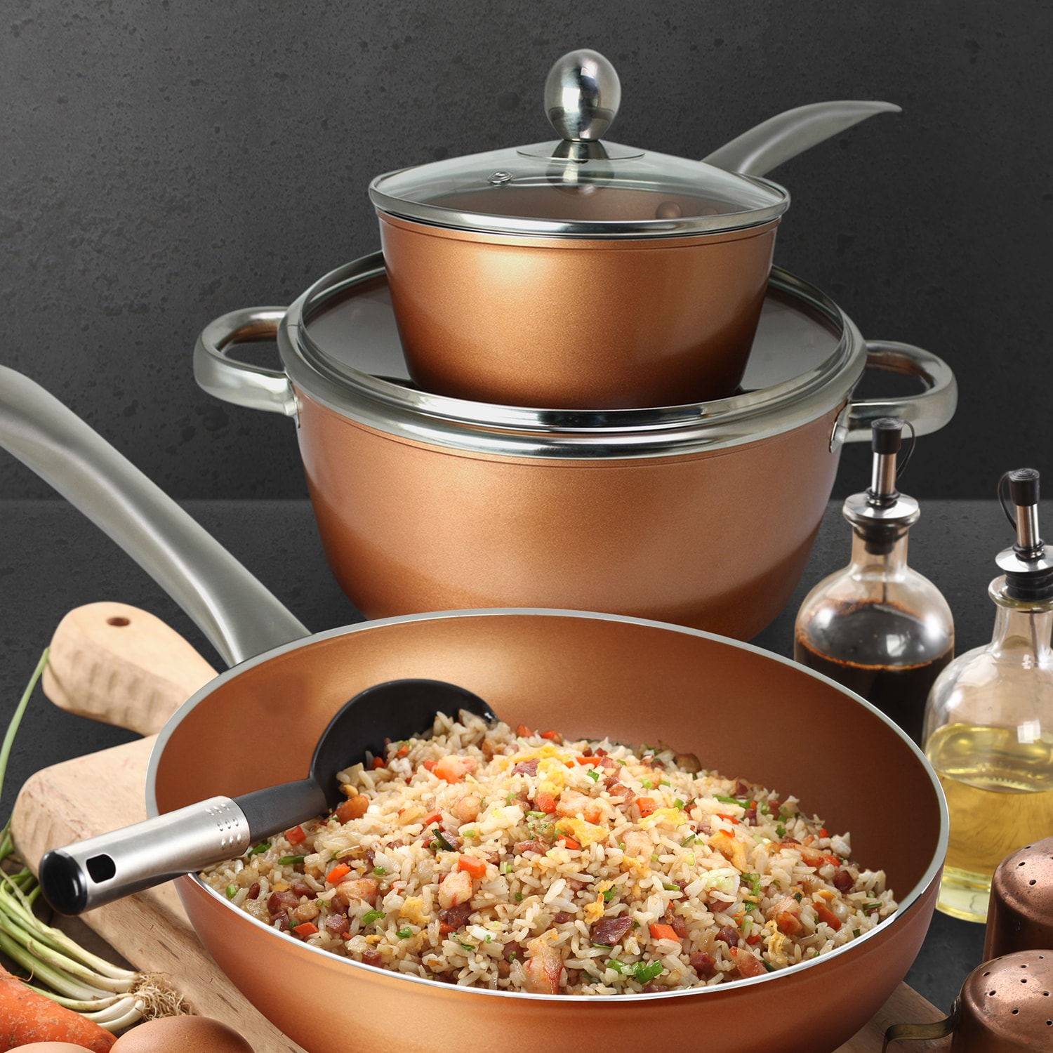 Masflex Forged Copper Aluminum Non-stick Induction Cookware